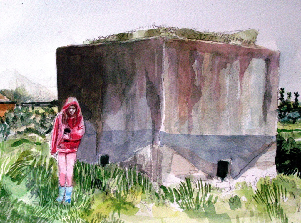 LUCY AND BUNKER III WATERCOLOUR ON PAPER 2012